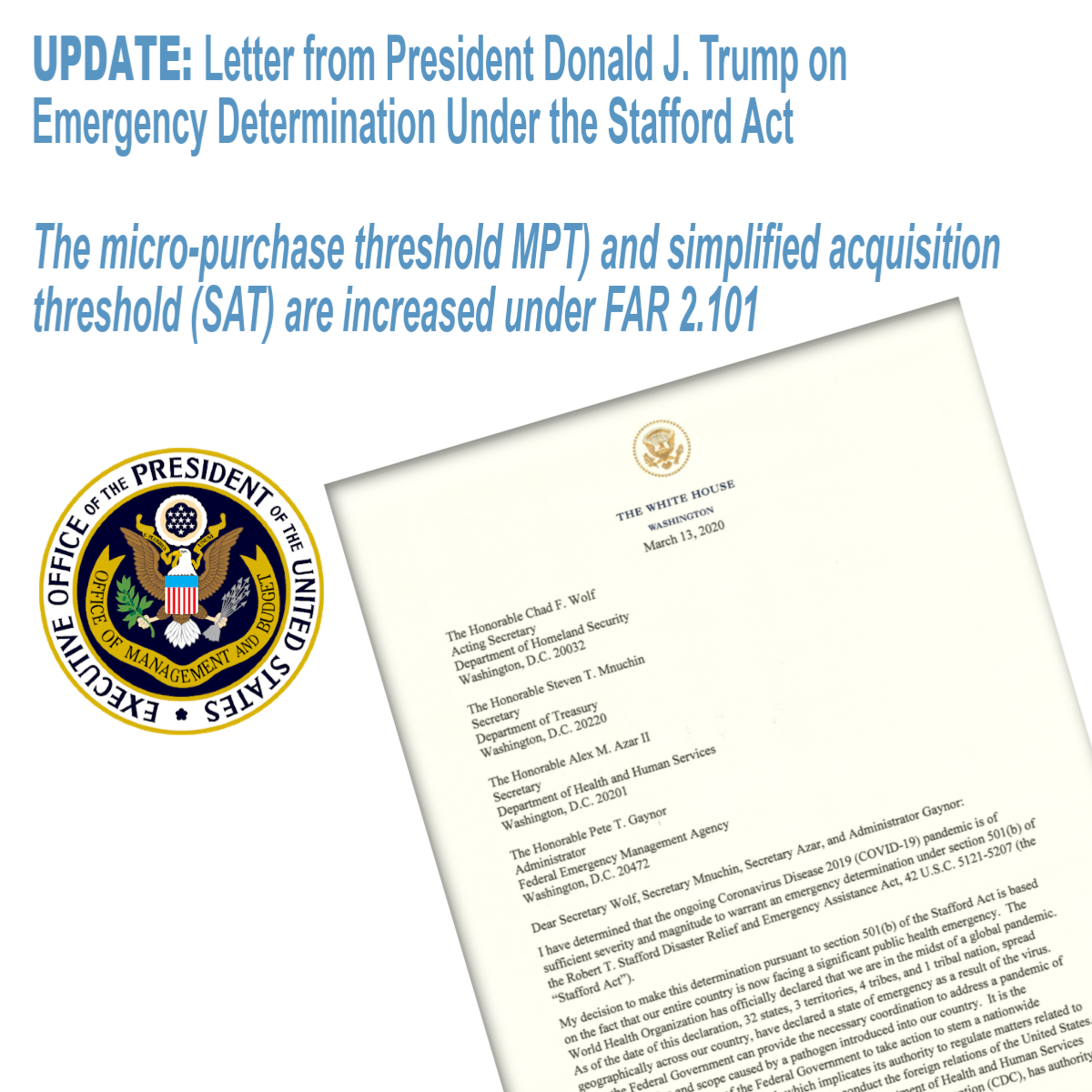 Letter from President Donald J. Trump on Emergency Determination Under the Stafford Act